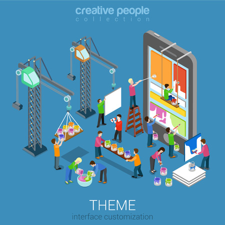 customization: Flat 3d isometric mobile theme user interface customization web infographic concept vector. Crane people painting changing interface on phone tablet. Usability, mockup, wireframe, UIUX concept. Illustration