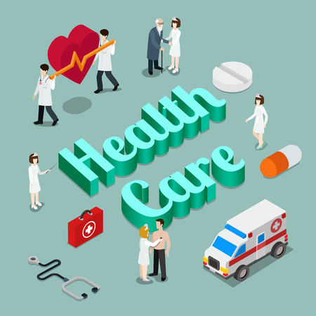 Health care medicine modern lifestyle flat 3d web isometric infographic vector. Young micro male female group healthcare medical workers ambulance emergency on huge letters. Creative people collection
