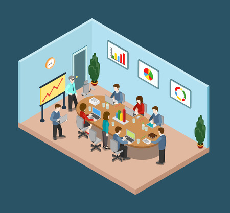 business meeting laptop: Office meeting room report business collaboration teamwork brainstorming flat 3d web isometric infographic concept vector. Staff around table working with laptop tablet. Creative people collection.