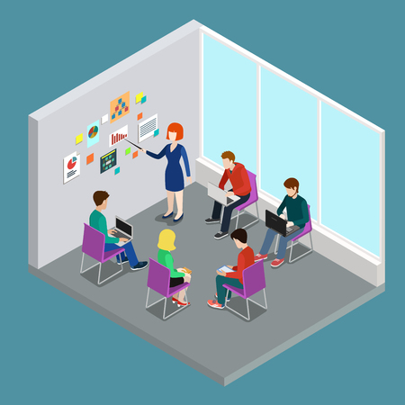 staff meeting: Business training education coaching trainer class flat 3d web isometric infographic concept vector. Office meeting room report business collaboration teamwork brainstorming. Creative people collection.