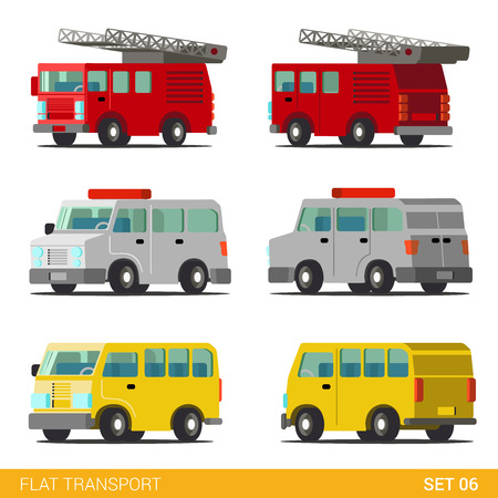 dept: Flat 3d isometric funny city emergency service road transport icon set. Fire department police dept van SWAT armored car taxi minibus. Build your own world web infographic collection.