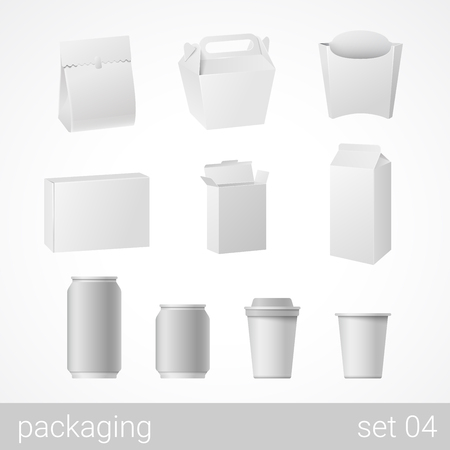 package design: Food and drink plastic, metal, paper and carton cardboard package set. Blank white packaging objects isolated on white vector illustration.
