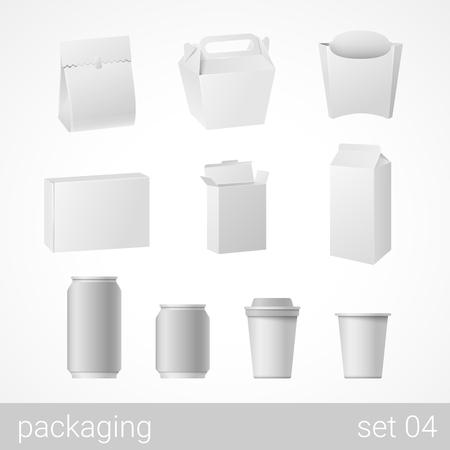 Los alimentos y bebidas plástico, metal, papel y cartón conjunto embalaje de cartón. objetos de embalaje en blanco aisladas en blanco ilustración vectorial.
