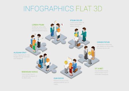 직원 웹 개념 벡터 템플릿 경력 팀웍, 협력, 인력의 플랫 3D 아이소 메트릭 인포 그래픽 개념. 사업 사람들의 그룹과 퍼즐 조각. 기업 구조.
