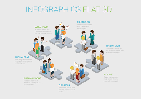 Flat 3d isometric infographic concept of teamwork, collaboration, workforce, winning staff web concept vector template. Puzzle pieces with groups of business people. Corporate structure.