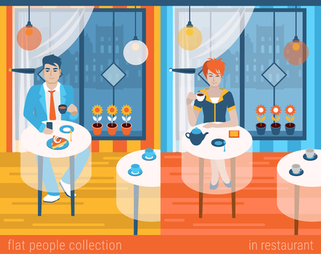 alone man: Flat people lifestyle situation in cafe restaurant concept. Set of young beautiful man and woman at table drinking hot beverage alone. Vector illustration collection of young creative humans.