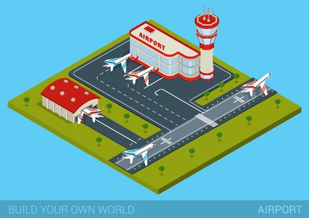 공항 플랫 3D 웹 아이소 메트릭 인포 그래픽 개념 벡터. 터미널 건물, 비행장, 격납고, 활주로 비행장의 활주로, 비행기 출발, 컨트롤 타워. 자신 만의 세