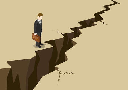 unrecognizable person: Business obstacle concept flat 3d web isometric infographic vector. Businessman stand before earth ground crack look down. Creative people collection.
