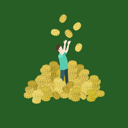 richness: Roll in money flat 3d web isometric infographic concept vector. Man heap of coins toss up. Richness, prosperity, success, financial well-being, spending savings lifestyle. Creative people collection.