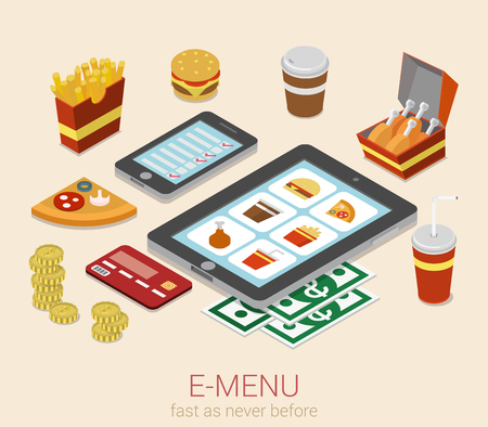 fastfood: E-menu điện tử thiết bị di động bữa ăn đơn trực tuyến để phẳng 3d nhà hàng cafe isometric bistro fastfood khái niệm web họa thông tin mẫu. Burger bánh sandwich bánh pizza chiên khoai tây cola trang web điện thoại máy tính bảng.