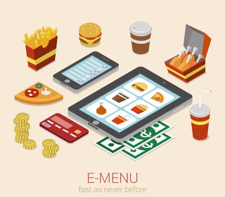 meal: E-menu electronic mobile device menu meal online order flat 3d isometric cafe restaurant bistro fastfood infographic web concept template. Burger sandwich pizza fried potato cola phone tablet website.