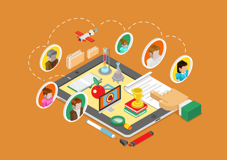 online education: Flat 3d isometric science, online education, teaching and coaching on tablet infographic concept vector. People avatars connected, book, flask, apple, computer, document, report and finger touch.