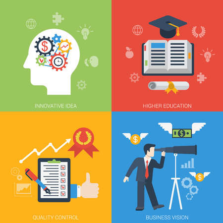 Flat style web banner modern icon set concept from innovative idea to success in business. Gear cogwheel mechanism brain education quality control vision. Website click infogaphics elements collection Illustration
