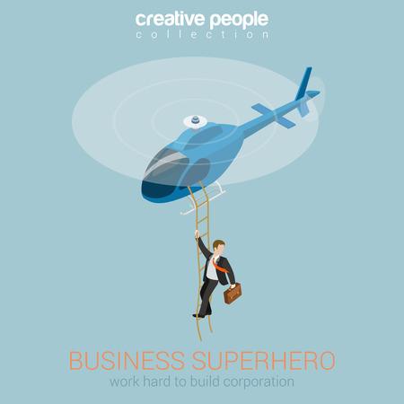 헬리콥터 개념 플랫 3D 웹 아이소 메트릭 인포 그래픽 벡터에 사업가 슈퍼 히어로. 성공과 리더십, 노력과 보상, 보안 서비스 슈퍼 에이전트. 창의적인  일러스트