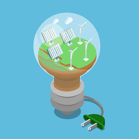 consumption: 3d isometric flat ecology green energy concept. Eco lamp sun battery wind turbines on green grass power supply plug. Flat isometry ecological power economy consumption collection.