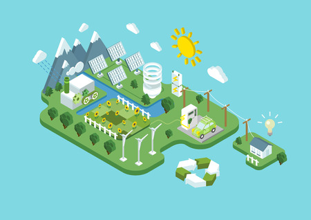Flat 3d isometric ecology green renewable energy power consumption sustainable development recycling web infographic concept vector. Wind propeller turbine sun battery station eco natural agriculture. Vettoriali