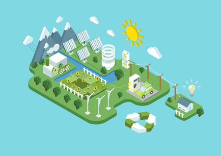 sol caricatura: Piso 3d ecología isométrica consumo de energía energía renovable desarrollo sostenible verde de reciclaje web concepto infografía vector. Turbina de viento de la hélice estación batería sol eco agricultura natural.