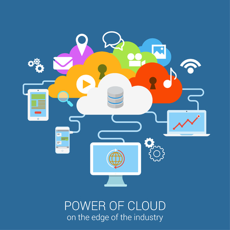 cloud: Modern flat design concept power of secure cloud services device computer tablet phone. Vector web banner template illustration. Website click infographics elements collection. Media files data icons.