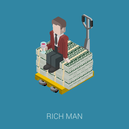 millionaire: Flat 3d isometric abstract billionaire, oligarch, rich man, millionaire, capitalist web concept vector icon. Businessman with glass of wine sitting on pallet of dollar banknotes. Illustration