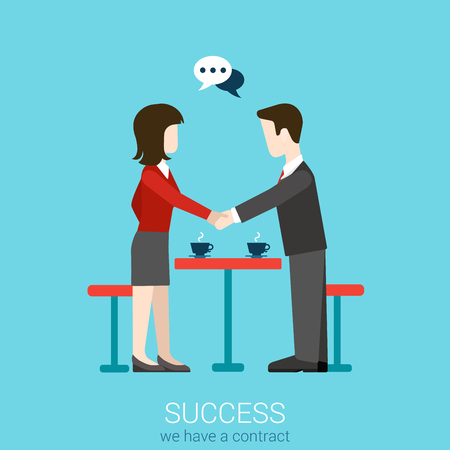 Flat web partnership success business deal to succeed infographic concept vector. Two businessmen shaking hands. Creative people collection. Ilustracja