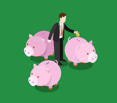 investor: Investor making decision, choose invest sector flat 3d web isometric infographic concept vector. Businessman stands on big moneybox. Creative people financial monetary piggy bank savings collection. Illustration