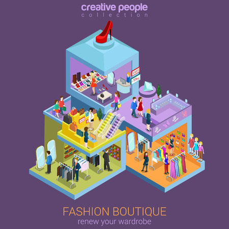 plaza comercial: tienda de moda isométrica concepto de la venta del centro comercial 3d plana Vectores
