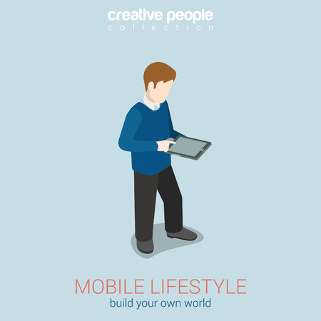 unrecognizable person: Mobile lifestyle flat 3d web isometric infographic concept vector. Man touching tanlet blank screen. Build your own world creative people collection.