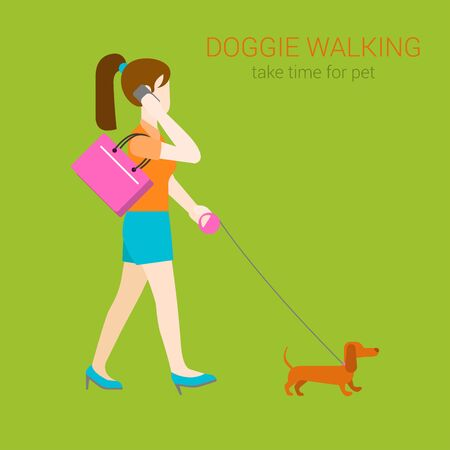 dog walker: Flat dog walking girl with dachshund on collar talking phone. Creative people collection.