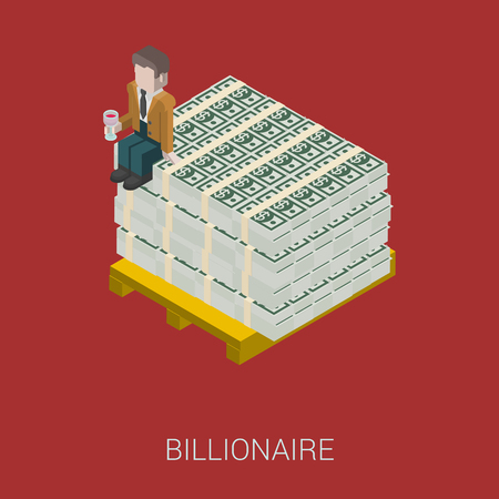 rich man: Flat 3d isometric abstract billionaire, oligarch, rich man, millionaire, capitalist web concept vector icon. Businessman with glass of wine sitting on pallet of dollar banknotes. Illustration