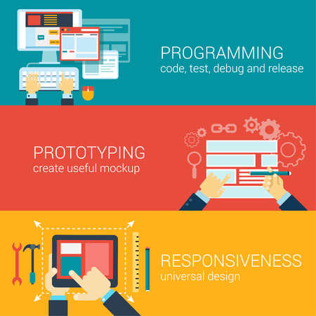 prototyping: Flat style process programming, prototyping, responsiveness infographic concept. Code writing, mockup, adaptive design web site icon banners templates set. Website conceptual flat vector collection.