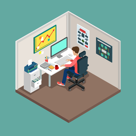modern office: Flat 3d isometric SCRUM process concept. Web style modern infographics with digital office workplace. Programmer, business analyst, code developer junior  senior coder  team leader  product owner. Illustration