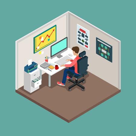 Wohnung isometrische 3D SCRUM Prozess Konzept. Web-Stil moderne Infografiken mit digitaler Büroarbeitsplatz. Programmer, Business-Analyse, Code-Entwickler Junior / Senior Coder / Teamleiter / Product Owner.