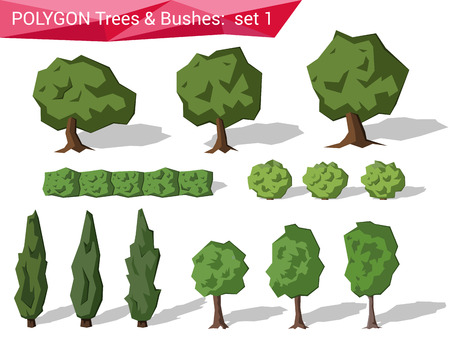 oak wood: Polygon trees & bushes abstract vector set. Polygonal creative design object collection.