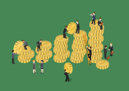creative money: Business concept financial growth flat 3d web isometric infographic vector. Businessmen adding coins, construction statistics data graphic with money heaps. Creative people collection. Illustration