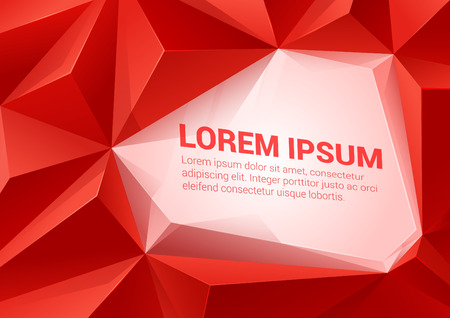 Polygonal triangle shapes red vector abstract background mockup template with space for text. Polygons backgrounds collection.
