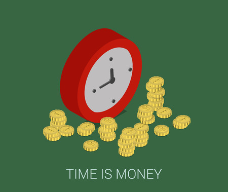 time clock: Flat 3d isometric style modern business time is money web site infographic concept. Conceptual illustration coins around round clock. Illustration