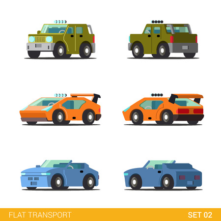 cabrio: Flat 3d isometric funny road transport icon set. Offroad SUV sportscar supercar cabrio convertible cars. Build your own world web infographic collection. Illustration