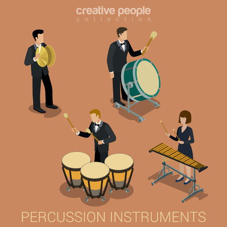 percussion: Percussion instrument musicians flat 3d web isometric infographic concept vector. Group of creative young people playing on classic instruments scene theater opera concert. Cello violin clarinet. Illustration