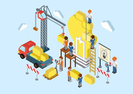 웹 인포 그래픽 개념 벡터 브레인 스토밍 플랫 3D 아이소 메트릭 창의적인 아이디어 계획. 크레인, 트럭, 큰 전구 램프 기호를 만드는 사람들. 비즈니스, 일러스트
