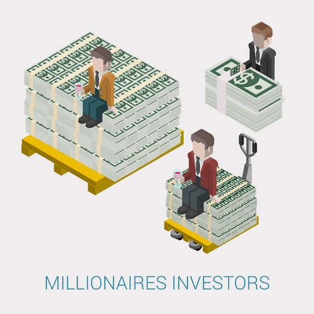 millionaire: Flat 3d isometric abstract billionaire, oligarch, rich man, millionaire, capitalist web concept vector icon. Businessman with glass of wine sitting on pallet of dollar banknotes. Big money. Illustration