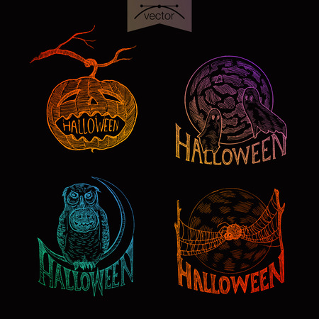 crosshatch: Halloween handdrawn engraving style labels set pumpkin ghosts owl spider spiderweb template poster banner print web site pen pencil crosshatch hatching paper painting retro vintage vector lineart illustration.