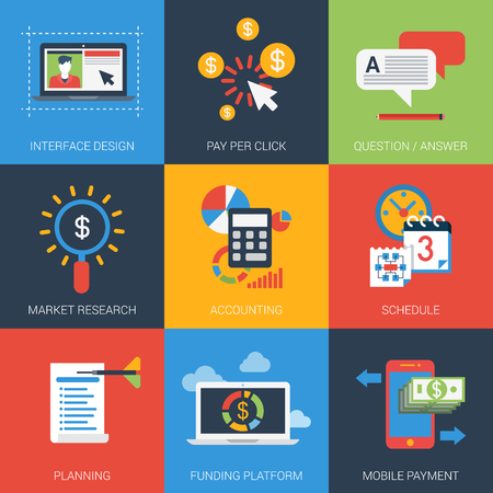 project plan: Flat icons set web project plan interface design marketing research accounting schedule planning funding platform mobile payment FAQ. Infographics style vector illustration concept collection.