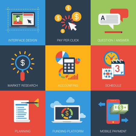 cronogramas: Iconos planos configurar proyecto web interfaz de plan de marketing diseño contable investigación planificación horario plataforma de financiación de pagos móviles FAQ. Infografía estilo de ilustración vectorial concepto de colección. Vectores