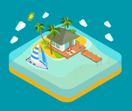 dock: Life on tropic island privacy solitude travel concept. Flat 3d isometric land infographics icon conceptual. Water facing house palm pier lounge woman yacht boat. Web isometry infographic collection.