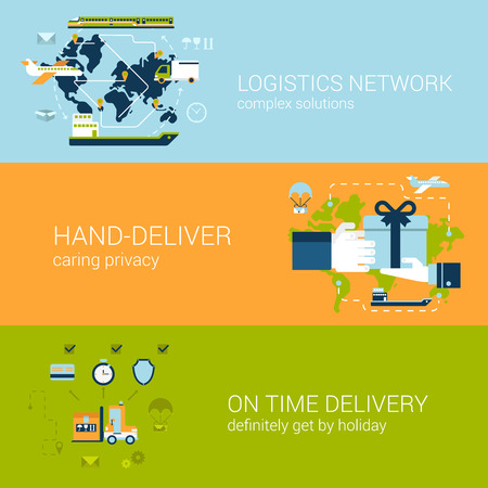 shipment: Flat logistics and delivery concept of web banners template set. Complex shipping solutions, hand-deliver, on time guaranteed shipping vector illustrations. Transport website infographics elements.