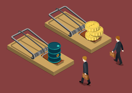 Business trap oil price drop investment crisis problem trouble concept flat 3d web isometric infographic vector. Businessman desperate situation goes mousetrap oil barrel money bait. Creative people.