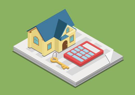 costos de bienes raíces valor de los gastos de alquiler concepto de precio fijo Web 3d isométrica del vector de infografía. calculadora llave de la casa en el papel de la publicidad. personas colección creativa.