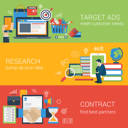 フラット スタイル web バナー モダンなデジタル マーケティングのパートナーシップのアイコンを設定します。ターゲット広告研究アイデア知識教育  イラスト・ベクター素材