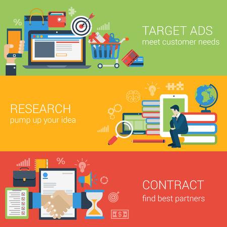 教育: 扁平式的網絡旗幟現代數字營銷合作夥伴關係的圖標集。目標廣告研究思路知識教育合作夥伴的合同拼貼畫。網站點擊infogaphics元素集合。 向量圖像