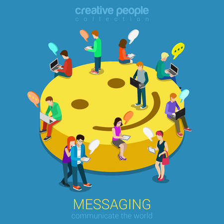 devices: Chat messaging communication flat 3d web isometric infographic concept vector. Micro young chatting people with electronic devices sitting on big smile podium. Creative people collection.